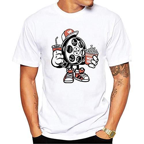 Miwaimao Comodo e Traspirante Elastico Girocollo T-Shirt Uomini Manica Corta Estate Sciolto Big Yards Videotape Coca Popcorn Film Notte Poliestere bianco -70,241 3XL