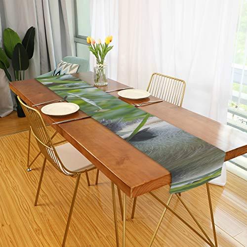 Generies Läufer für Tisch hungrig Riesen Panda Bär Essen Bambus Quadrat Tisch Läufer Tisch Läufer Dekor für Büro Küche Essen Hochzeitsfeier Home Couchtisch Dekor