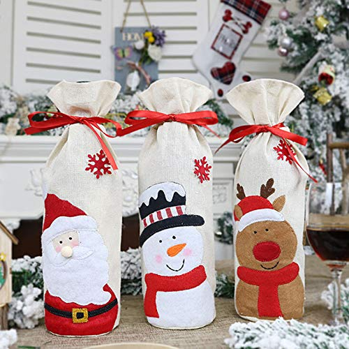 Mcree 3er-Pack Ugly Sweater Weihnachtspullover für Weinflaschen/Weinflaschen/Pullover für hässliche Weihnachten, Party-Dekorationen, Weihnachten, Party, Zuhause, Abendessen, Party, Tischdekoration