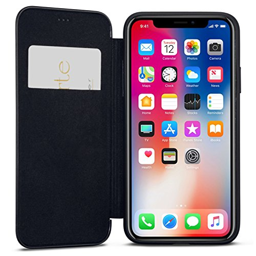 iPhone XR Flip Case Black - CASEZA Dublin PU Leather Case - Premium Vegan Leather Wallet Book Folio Cover for The Original iPhone XR / 10R (6.1 inch) - Ultra Thin with Magnetic Closure