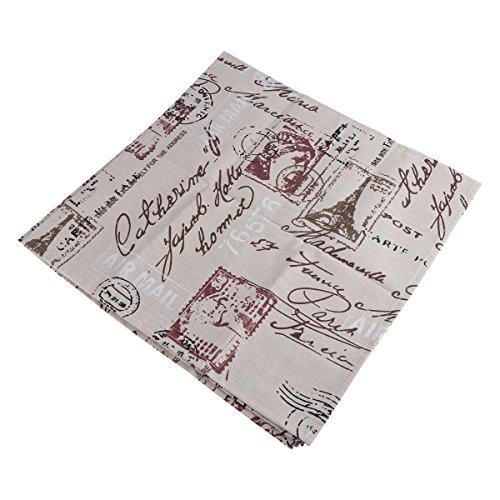VORCOOL Mantel de algodón de Estilo Vintage y Mantel de algodón Cuadrado y Protector de Lino para Mesa de Comedor decoración Mesa Fina 90 x 90 cm (Tower Pattern)