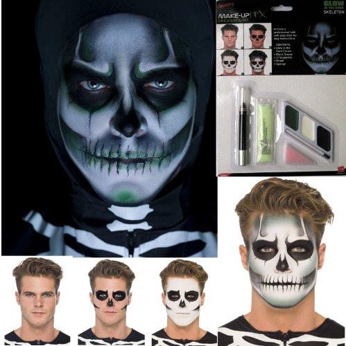 Halloween Brille GID Squelette Tête De Mort Maquillage Peinture De Visage Accessoire Costume Déguisement
