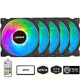 upHere 120mm RGB LED Ventilateur pour Boîtiers PC, Ultra Calme, 5-Pack avec Télécommande/C8123-5