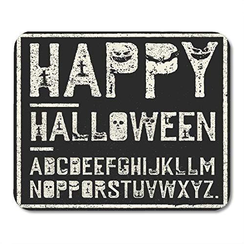 Mausmatte, schwarz gruselig Happy Halloween Alphabet Grunge Stempel Buchstaben mit gruseligen Fledermäusen Gräber Kürbisse White Horror Ultra-Thin Mousepad für Laptop-Tourismus,18x22cm