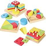 Product Image of the JOYIN Toy 4 in 1 Wooden Educational Shape Color Sorting Puzzles Preschool...