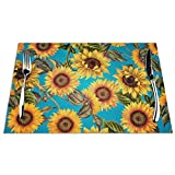 Placemats for Dining Table,Vintage Shabby Chic Sunflowers On Turqoise Washable Durable Woven Vinyl Heat Resistant Kitchen Table Mats Non-Slip Coffee Mats 12X18 inches,Set of 6