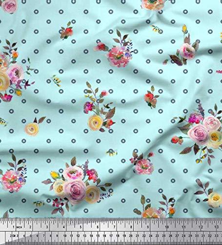 Soimoi Feuilles De Tissu Georgette Mousse Verte, Petit Cercle Et Tissu Imprimé Floral par Yard De 42 Pouces De Large
