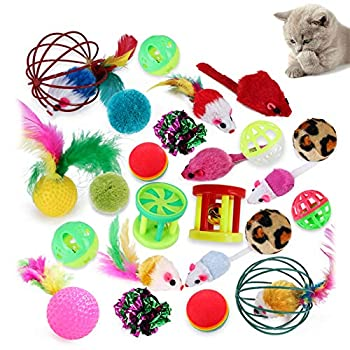 Uponer Lot de 24 Jouets interactifs pour Chats Kitty Jouets Chat Souris y Balles avec Plumes Jouets en Peluche Clochette interactifs Animaux Domestiques Toys pour Chat Chaton Minou