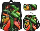 Patrón con chile pimientos mochila librerías conjunto con bolsa de almuerzo bolsa lápiz estuche viaje