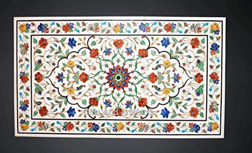 Mesa de comedor de mármol blanco de 36 x 72 pulgadas con aspecto decente de Indian Crafts
