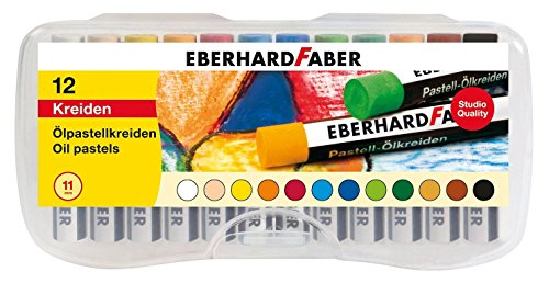 Eberhard Faber 522013 - Ölpastellkreiden in 12 leuchtenden Farben, bruchsicher, fingervermalbar, in Kunststoffbox, ideal für glatte Flächen