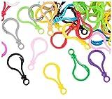 Cierres de plástico para langosta, paquete de 100 ganchos de plástico duro, cierre de mosquetón de plástico grande para juguetes de bricolaje, llaveros, llaveros, colores surtidos, 2 x 1 pulgadas