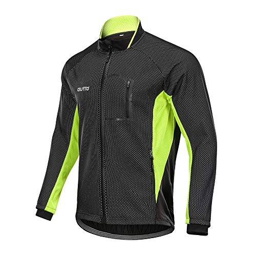 Winter Windproof Fahrradjacke, Herren Radjacken Für Herren MTB Mountainbike Jacke Visible Reflective Fleece Warm Jacket (4XL,Grün)
