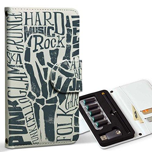 スマコレ ploom TECH プルームテック 専用 レザーケース 手帳型 タバコ ケース カバー 合皮 ケース カバー 収納 プルームケース デザイン 革 音楽 ロック メタル 014522