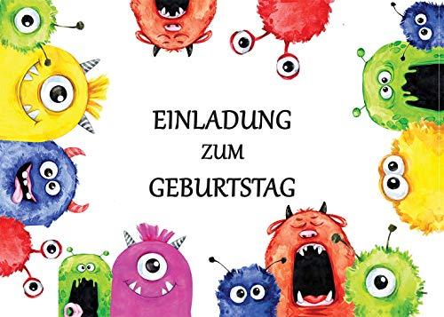 15 umweltfreundlich recycelte Kindergeburtstags-Einladungskarten mit Umschlägen: Monster