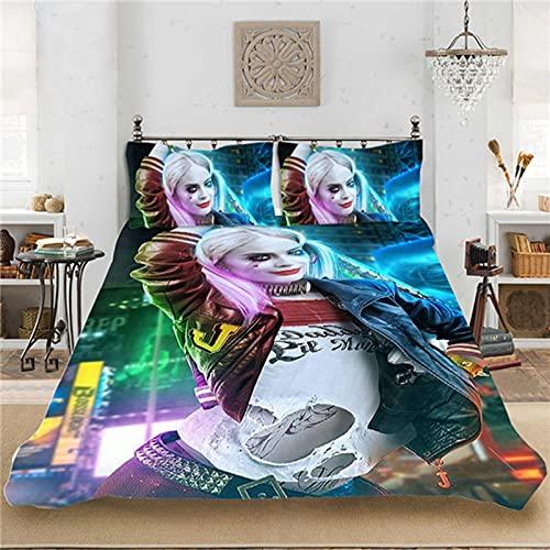 Harley Quinn Suicide Squad Housse De Couette Et Taie d'oreiller, Impression Numérique 3D, Housse De Couette en Microfibre, pour Enfants Et Adultes (12,140x210cm)