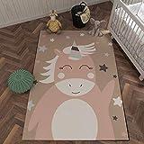 Alfombra de poliéster de tacto suave con estampado de estrellas de unicornio lindo, alfombra de juguete para bebé para sala de juegos, alfombra rectangular junto a la cama del dormitorio 80cmx150cm