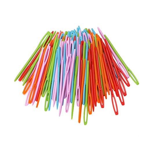 Xuniu 100 Pezzi in plastica Colorata per Cucire Aghi per Bambini arazzo Tessuto di Lana Istruzione 7x0.2cm
