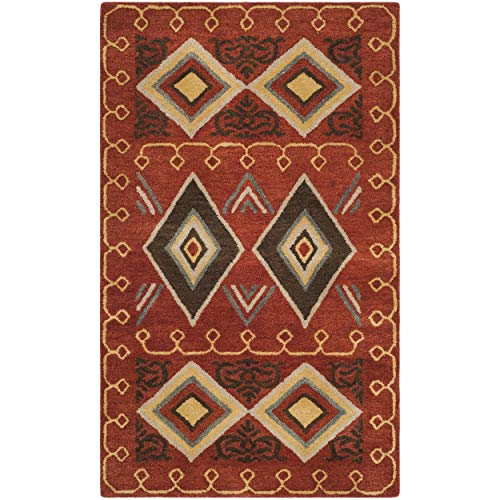 Safavieh Heritage Collection HG404A Handmade Traditional Oriental Premium Wool Area Rug, 3' x 5', Red / Multi