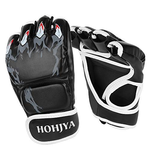 HOHJYA MMA Gloves, Half-Finger Boxing Fight Gloves MMA Mitts with Men Women Knuckle Adjustable Wrist Band Protection UFC Gloves for Sanda Sparring Punching Bag Training