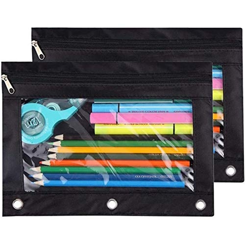 Pencil Pouch 3 Ring, Zipper Pencil Pouches Case Binder Cosmetic Bag Black 2 Pack