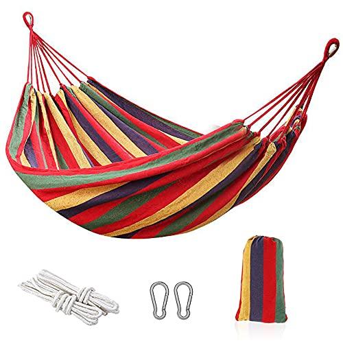 Hamac d extérieur RANJIMA - Pour le camping - Plusieurs personnes - Double hamac avec sac de transport - Hamac classique portable pour intérieur balcon, jardin, voyage, camping, plage