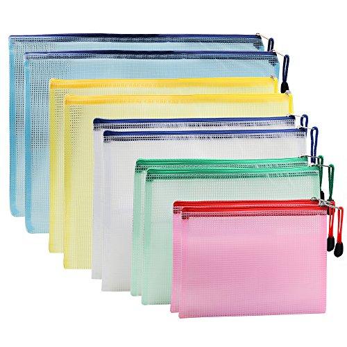 10-Pack Dokumententasche Größe A4/A5/B4/B5/B6, IPOW Reißverschlussbeutel Mesh Taschen Set Zipper Beutel für für Datei, Papier, Dokumente, Kosmetika und Reiseutensilien - Bunt
