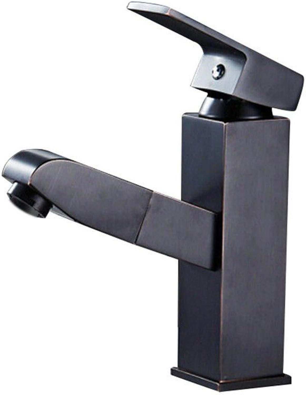 LHbox Kaltes Wasser Armaturen für Pull-down Hahn Waschbecken Wasserhahn Badezimmer Waschtisch Armatur Waschtisch Armatur Wasserhahn voll Messing verchromte Armaturen, 4