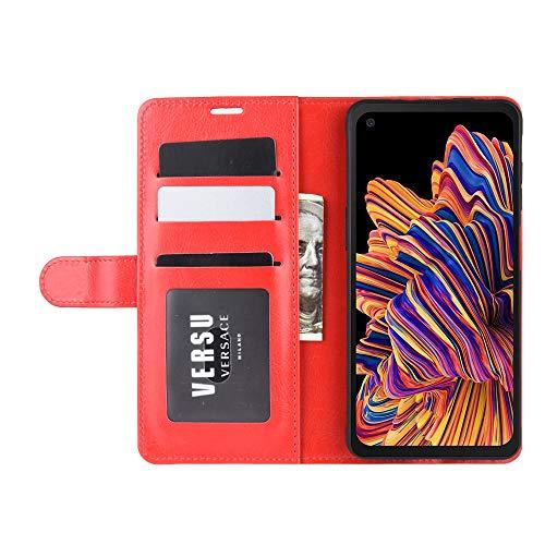 DAMAIJIA für Samsung Xcover Pro Hüllen Klapphülle PU Leder Silikon Wallet Schutzhülle Schutz Mobiltelefon Flip Back Cover für Samsung Galaxy Xcover Pro G715F Tasche Handy Zubehör (red)
