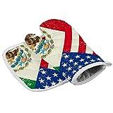耐熱ミトン キッチン手袋 メキシコ系アメリカ人 国旗 オーブン 鍋敷き ミット 2点セット 鍋つかみ バーベキュー BBQ 耐熱グローブ やけど防止 滑り止め クッキング用 フリーサイズ おしゃれ 厚手 左右兼用 耐熱皿マット