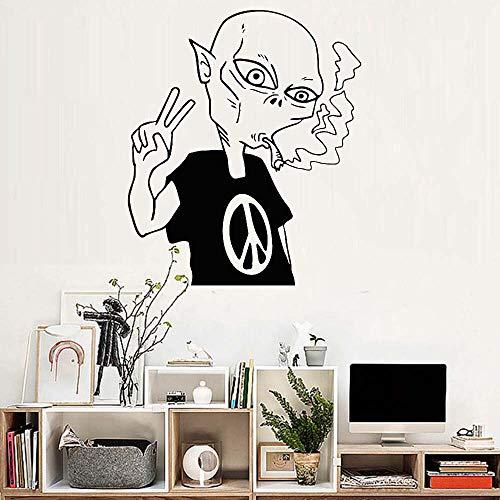 JXAA Alien Peace Love Smoking platillo Adhesivo de Pared y diseño de Arte común póster Mural Vinilo calcomanía Papel Tapiz 56x68cm