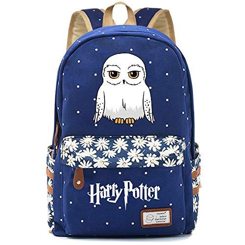 NYLY Stilvolle Harry Potter Schule Rucksack Wasser abstoßende Floral Casual Daypack Computer Tasche Dobby/Eule Große S-5
