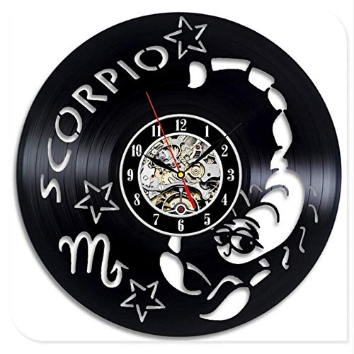 Djkaa Mode 12 serie sterrenbeeld zwart vinylschijf design wandklok wandklok decal wandsticker decoratie (12 inch)