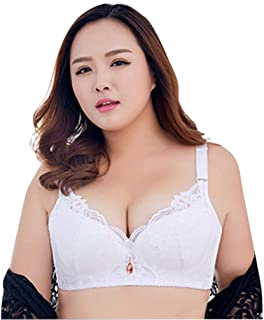 UJUNAOR Women's Sexy Floral Lace Bra Without Underwire Comfort Bra with Removable Padded Cup Women's Plus Size Adjustable ...
