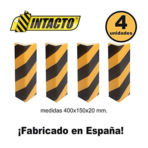 INTACTO 4 ESQUINERAS Protector Parking Amarillo y Negro con Adhesivo 400X150X20MM. 4 Unidades.