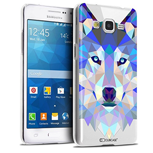 Caseink - Coque Housse Etui pour Samsung Galaxy Grand Prime SM-G530 [Crystal HD Polygon Series Animal - Rigide - Ultra Fin - Imprimé en France] - Loup