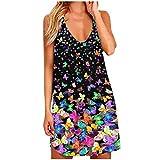CCOOfhhc Camiseta de verano para mujer, con estampado de mariposas, holgada, holgada, holgada, holgada, con espalda descubierta, informal B Rosa XL