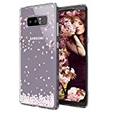 Galaxy Note 8 Case, Galaxy Note 8 Case for Girls, MOSNOVO Cherry Blossom Floral Printed Flower Pattern Clear Design Transparent Case with TPU Gel Bumper Protective Case Cover for Samsung Galaxy Note 8