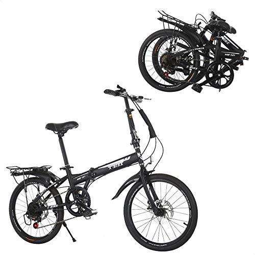 OQJUH E-Bike Klapprad Gang-Schaltung Faltrad Unisex Falt-Ahrrad,Vollfederung Freilauf Kettenschaltung Faltbares Fahrrad