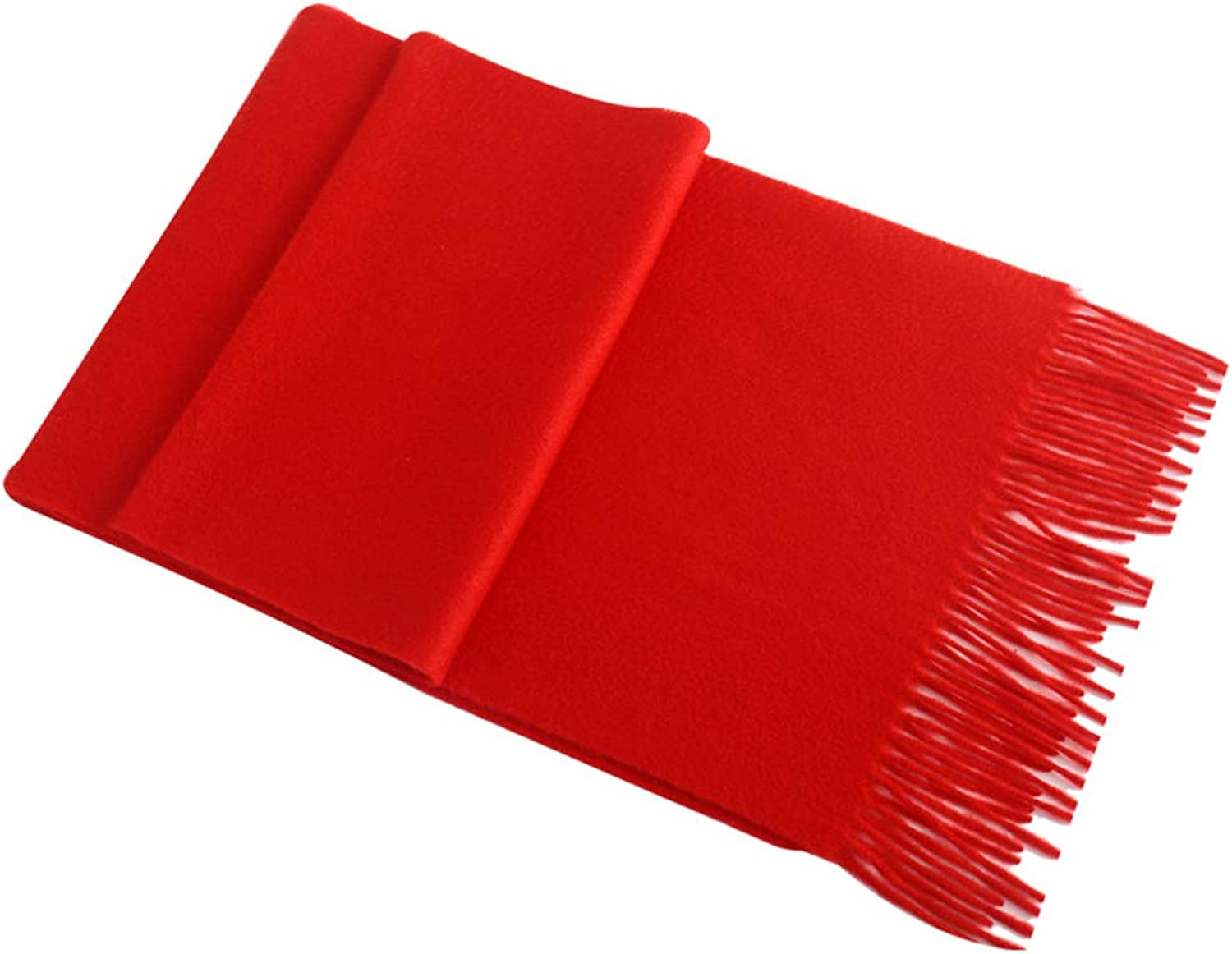 Scarves 100% Pure Cashmere Scarf  Female Spring and Autumn Winter Solid color Thick Warm Long red Collar Korean Shawl Stoles (color   Red, Size   30  180cm)