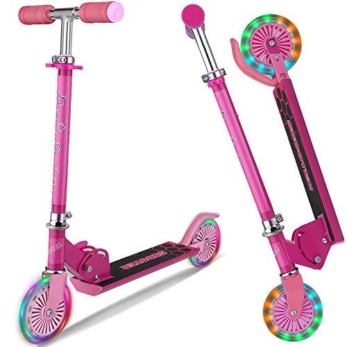 DaddyChild Roller für Kinder 2 Räder Klappbar Kick Scooter für Mädchen Jungen, 3 Höhenverstellbare Kinderscooter, LED Light Up Wheels (Pink)