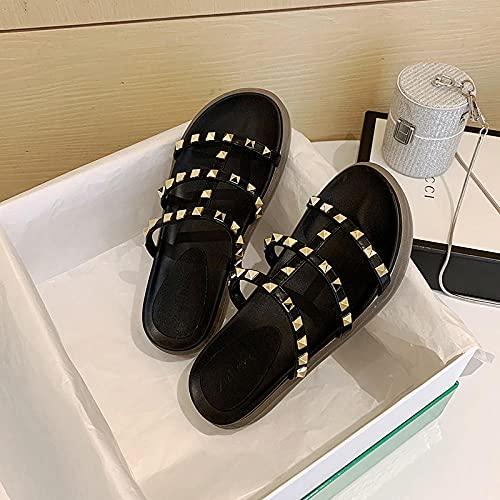 MLLM Zapatos de piscina de suela de espuma suave, zapatillas casuales Liu para uñas, sandalias de fondo grueso aumentadas - negro_35, sandalias de ducha de secado rápido
