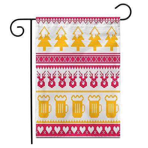 DRXX Suéter de Bandera de jardín de 30x45 cm, Renos y árboles de Cerveza navideña, Rojo, Naranja, Blanco, Banderas Decorativas para Patio de casa de Doble Cara al Aire Libre