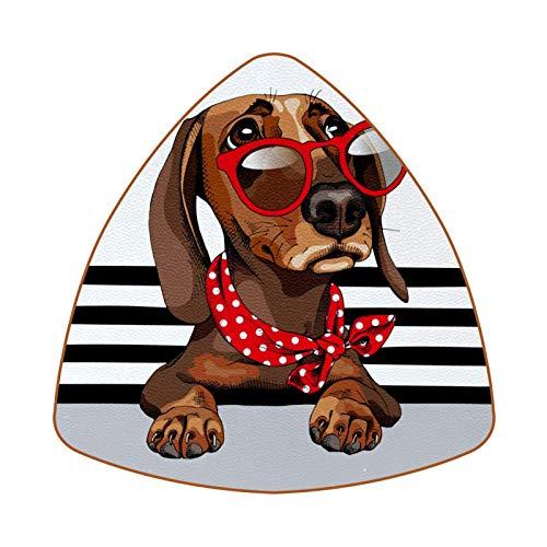 Posavasos triangulares para bebidas, gafas de sol rojas con lunares de piel, para proteger muebles, resistente al calor, decoración de bar de cocina, juego de 6