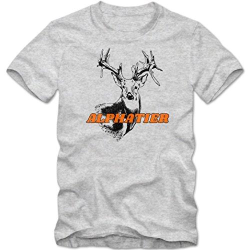 Alphatier #1 T-Shirt | Leittier | Rudelführer | Boss | Herren | Shirt, Farbe:Graumeliert (Grey Melange L190);Größe:XL