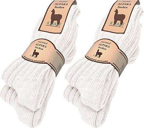 normani 4 Paar sehr Dicke Flauschige warme Alpaka Socken - mit Alpakawolle Farbe Wollweiß Größe 39/42