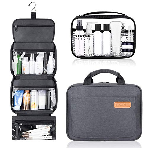 Travel Toiletry Bag with Hanging Hook, Travel Bottles Containers 2 oz Toiletries Waterproof Makeup Cosmetic Travel Bag Organizer for Women/Men