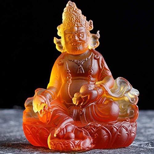 LXHJZ Estatua Buda Tibetano para Figuras hogar, decoración Escultura Dios la Riqueza Cinco vías para Sala Estar, decoración Adornos artesanía Vidrio