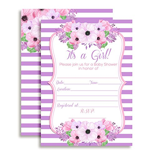 Amanda Creation Pink & Purple Watercolor Floral Baby Girl Shower Fill...