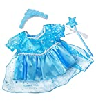"""BLUE SNOW PRINCESS DRESS LIKE FROZEN ELSA TEDDY BEAR OUTFIT CLOTHES WITH WAND AND TIARA FITS 15"""" 16""""..."""